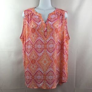 VIOLET & CLAIRE Size 1X Sleeveless V-Neck Blouse